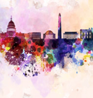 Washington DC Skyline in Watercolor Mural