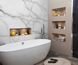 white marble texture mural in bathroom