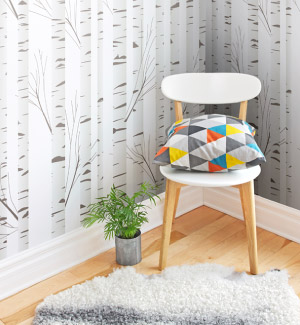 white birch pattern mural in home