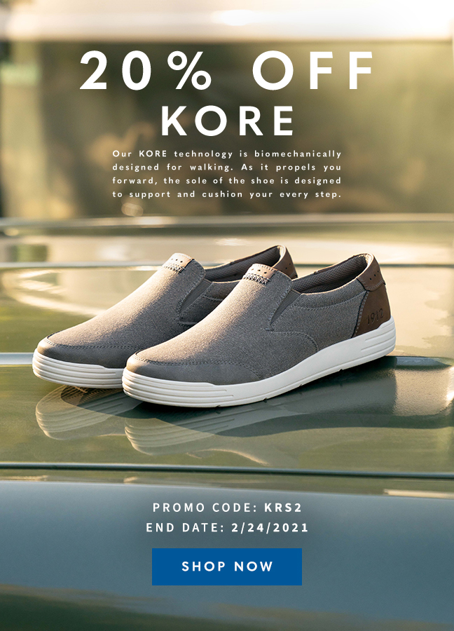 """Take 20% off all KORE products with code """"KRS2"""" during checkout. Display images to learn more."""