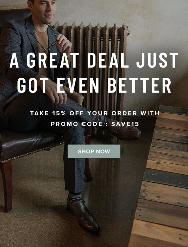 """As a thank you for choosing Florsheim, take 15% off your next online purchase with code """"SAVE15"""" during checkout. Display images to learn more."""