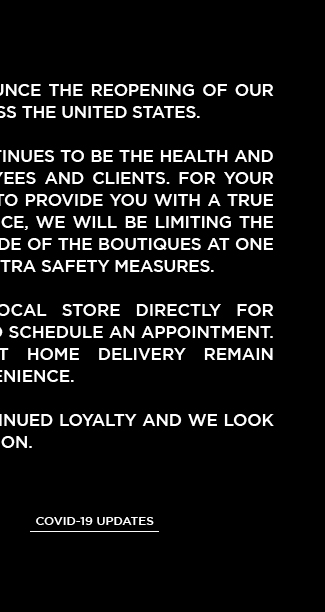 TOM FORD BOUTIQUES REOPENING. COVID-19 UPDATES.