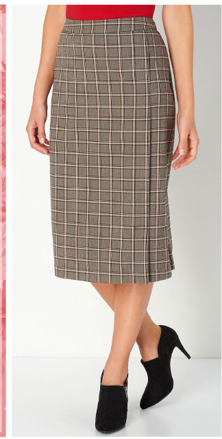 Pull-on Faux Wrap Skirt
