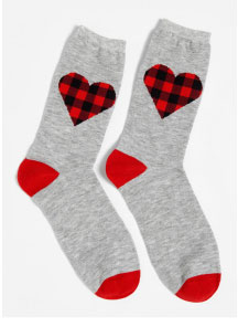 Buffalo Hearts Crew Socks: Shoe Size 4-10