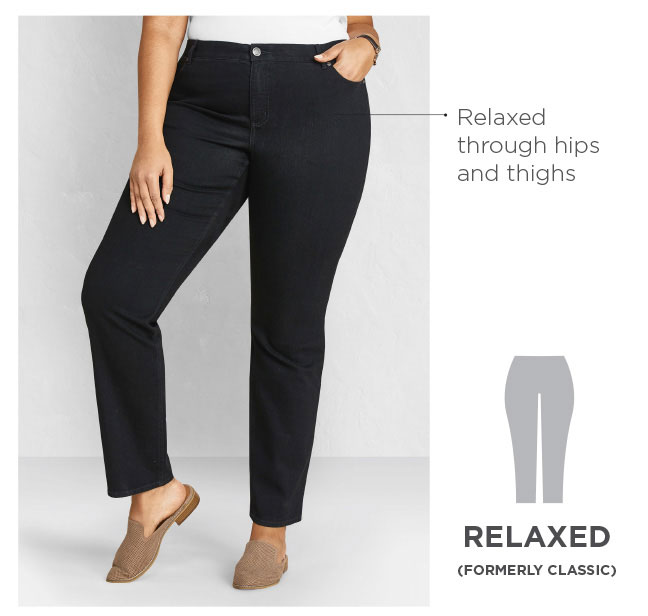 Relaxed - Relaxed through the hips and thighs. Style formerly known as Classic.