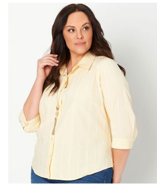 Solid Lyocell Plus Size Button Up Shirt