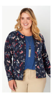 Perfect Printed Plus Size Cardigan Sweater