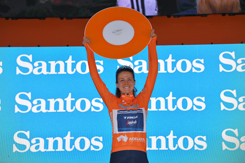 Ruth Winder on the podium at the Santos Tour Down Under