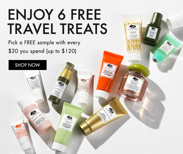 ENJOY 6 FREE TRAVEL TREATS Pick a FREE sample with every 20 dollars you spend up to 120 dollars SHOP NOW