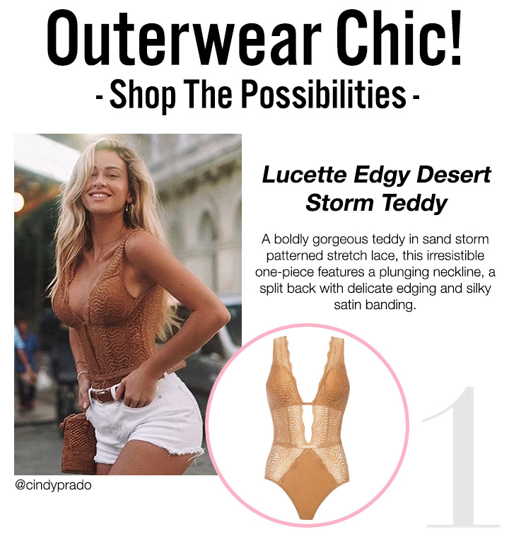 Outerwear Chic! Shop The Possibilities! Lucette Edgy Desert Storm Teddy - A boldly gorgeous teddy in sand storm patterned stretch lace, this irresistible one-piece features a plunging neckline, a split back with delicate edging and silky satin banding! Shop Now!
