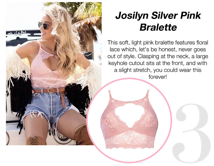 Josilyn Silver Pink Bralette - This soft, light pink bralette features floral lace which, let's be honest, never goes out of style. Clasping at the neck, a large keyhole cutout sits at the front, and with a slight stretch, you could wear this forever! Shop Now!
